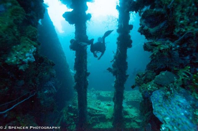 Entering the Yamagiri Maru, over 20 meters deep.