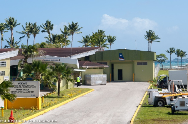 Majuro Airport - see the Pacific in the background