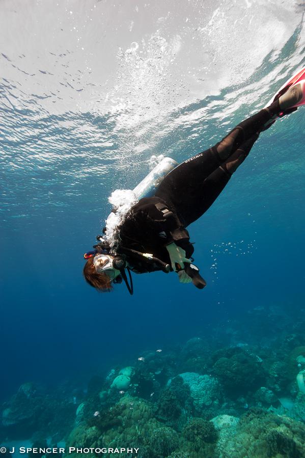 My fellow diver Jana in Kosrae.