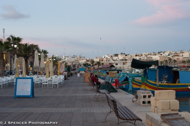 Cafes on the waterfront at Marsaxlokk, Malta