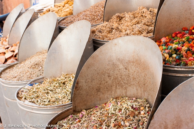 Spices and teas in the Marrakech souk