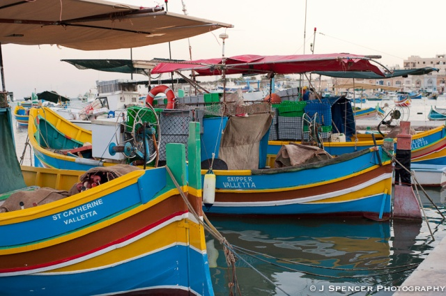 The fishing boats in Marsaxlokk village