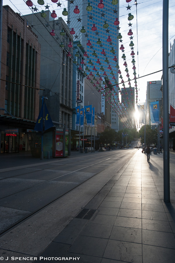 New year's decorations in the streets of Melbourne.
